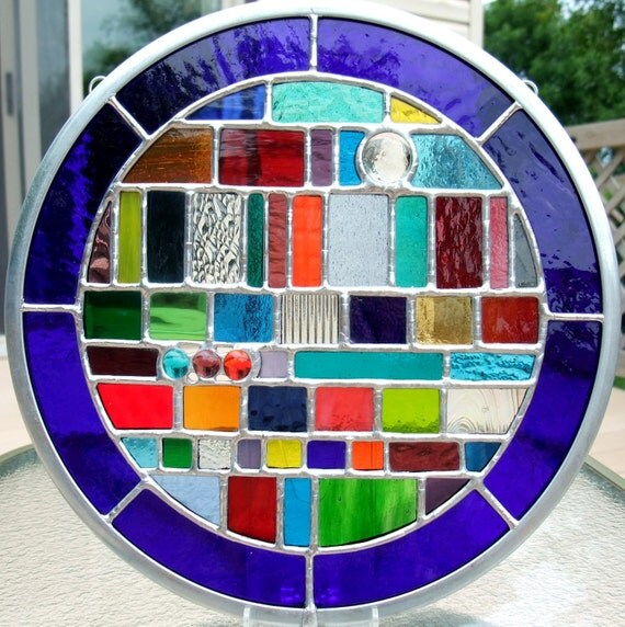 Multicolored Round Geometric Stained Glass Panel