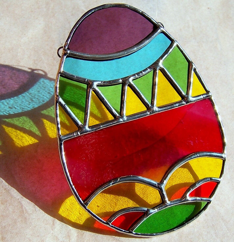 Easter egg stained glass suncatcher