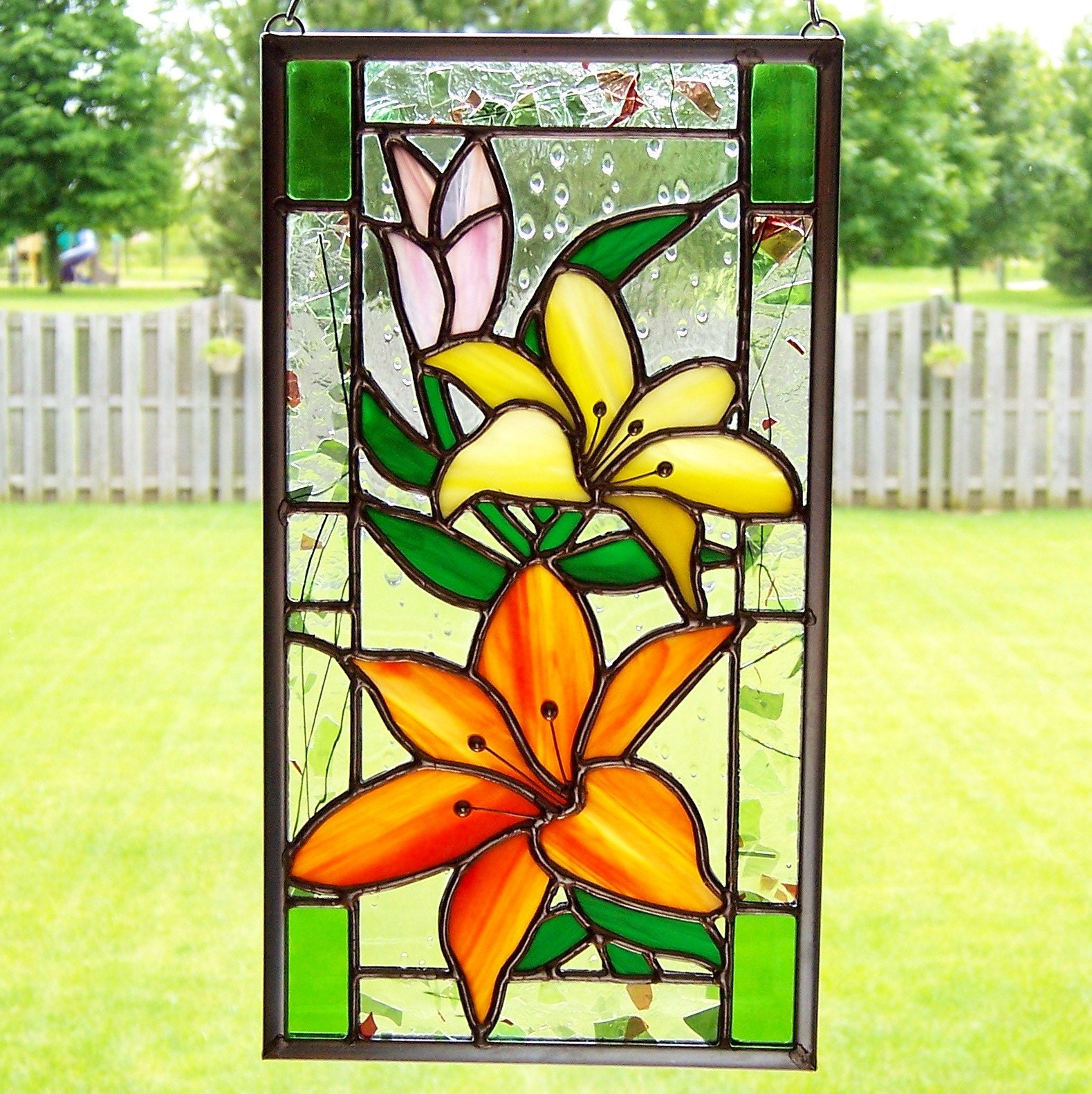 Floral stained glass panel