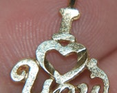 Vintage Gold I Love You Heart Charm