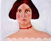 SQUARE ART MAGNET The Red Velvet Ribbon Oil Painting