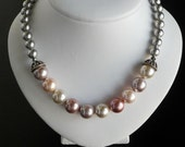 Pastel Pearls and Sterling Silver Necklace, Swarovski