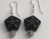 Carved wood beads and Sterling Silver earrings