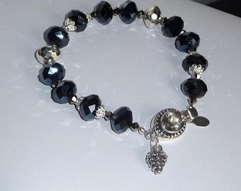 Black Faceted Glass Beads, Sterling Silver and Quartz Clasp Bracelet