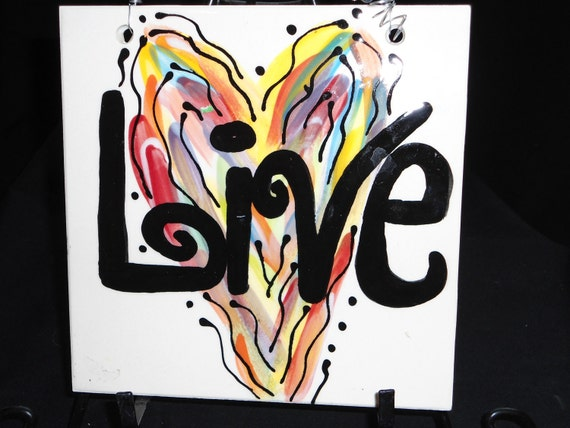 "Word/Heart series ""LIVE"" 4x4 tile 6x6 available as well"