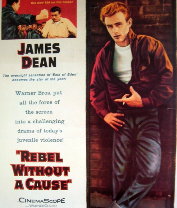 vintage movie poster rebel without a cause james dean 1955. Black Bedroom Furniture Sets. Home Design Ideas
