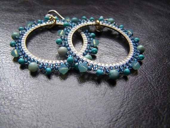 Turquoise Ocean Jasper - Beaded Hoop Earrings