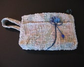 White Clutch, Blue Flower Purse, White Zipper Pouch, Small white purse