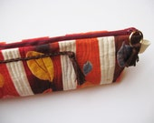 Autumn Orange Pouch, extra long for pencils or tools, Long Fall Clutch, Leaves and Stripes, Fall Color Bag