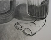 Charcoal Drawing Eyeglasses, Vintage Coffee Jar, Coffeemaker, Black and White Art
