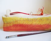 Pencil Pouch Canvas Bag Orange and Yellow Tote