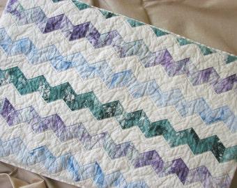 Chevron Pillow Cover Blue Green Purple Natural Cotton Zipper Cover OOAK