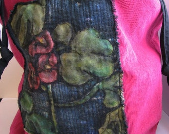 Pink Tote, Drawstring Bag, Girl's Tote, Flowered Tote, Pink Flower Bag