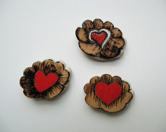 Valentine Decor, Fridge Magnet, Wood Hearts, Pyrography Magnets, OOAK magnets, Natural and Red Decor