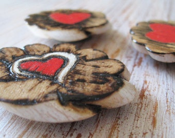 Heart Magnets Red Natural Wood Scalloped Edge Strong Magnet