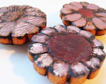 Wood Flower Magnet, Lavender Magnet, Rustic Decor Magnet, fridge magnet