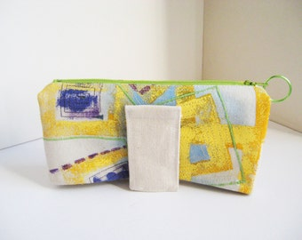 Clutch or Wallet Yellow & Lime Canvas  Painted clutch Modern Abstract Design Arty bag