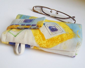 Yellow and Blue Glass Pouch Mod Design Painted Canvas Bag