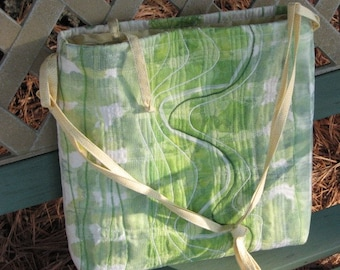 Lime Green Purse Textile Art Bag One of a Kind over shoulder or cross body handle
