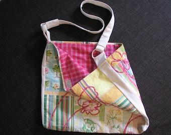 Patchwork Tote, Pastel Bag, long handle carryall, Summer Theme Bag, plaid and flowers OOAK bag