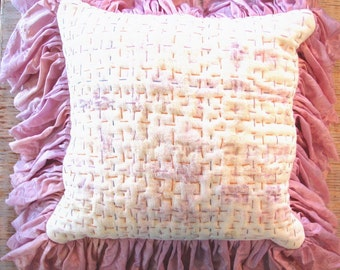 Pink Pillow Pink Ruffle Pillow White Barkcloth Upcycled fabrics OOAK