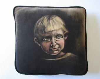 Black Toss Pillow, Face Pillow, Textile Art Decor,  Painted Cushion,  Novelty Pillow, OOAK accent