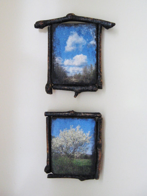 Twig Frame, Photo Magnet, Set of Two, Country Road, Landscape Magnet, Small Photo Decor, Rustic Decor, ACEO magnets
