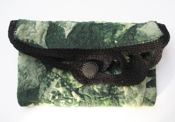 Green and Black Clutch Crochet Trim Small Green Purse Leaf Print Quilted Bag OOAK