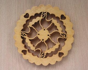 Trivet, 4 Roosters Handmade