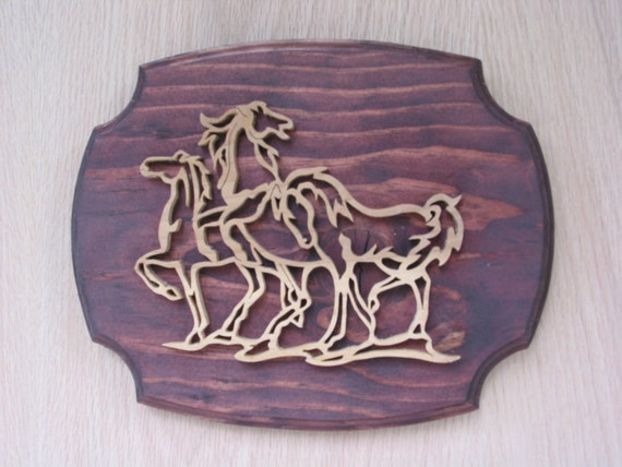 Horse Plaque Three Horses Handmade