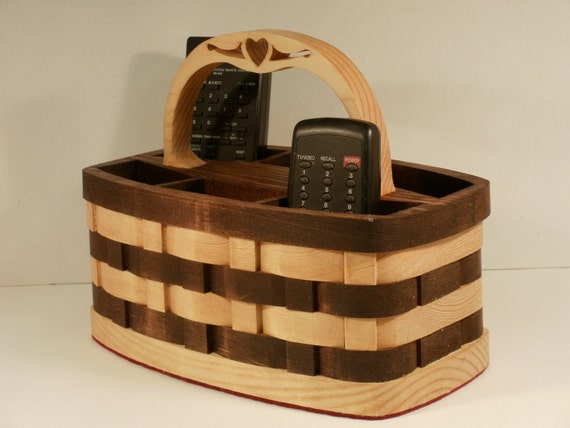 TV 6 Remote Organizer Basket with Handle Handmade