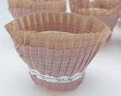 Shabby Worn Pink Vintage Pleated Crepe Paper Nut Cups Yummy