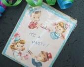 Vintage Pink Blue Party Invitations  Salesman Sample