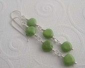 Key lime sterling silver earrings with green turquoise. wire wrapped earrings in lime green  dangle earrings drop earrings