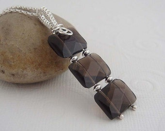 Gemstone necklace - sienna trio sterling silver necklace with  wire wrapped pendant in dark brown - smoky topaz.