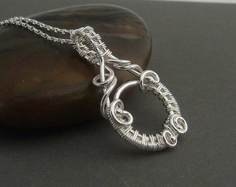 Alexandria Sterling silver necklace , wire wrapped pendant. wire wrap necklace