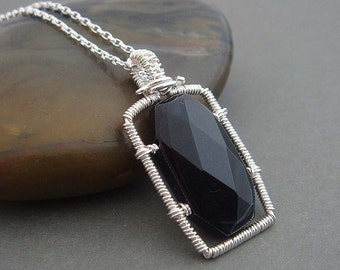 Sterling silver necklace Soho , with wire wrapped geometric necklace in black. Sterling silver jewelry , gift for her