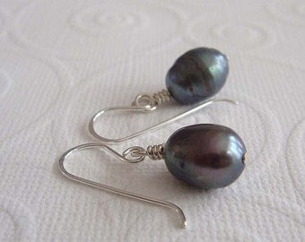 Irisa  sterling silver and pearl earrings. Wire wrapped earrings in teal / blue-gray.  dangle earrings drop earrings