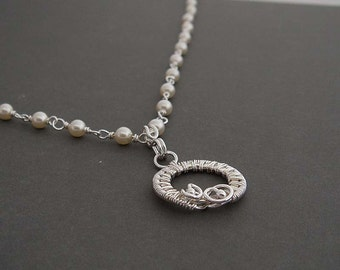 Sweetheart silver pearl necklace. sterling silver necklace, Sterling silver jewelry . Bridal jewelry