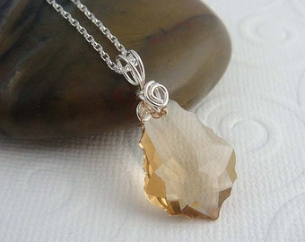 sterling silver necklace Caprice , with  wire wrapped golden pendant. Sterling silver jewelry, gift for her