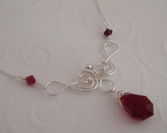 Red necklace - Safia sterling silver and ruby crystal necklace. Red wire wrapped necklace. Sterling silver jewelry