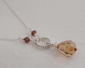 Bella Topaz necklace , teardrop necklace, crystal necklace, teardrop pendant,  Sterling silver necklace