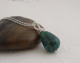 Green necklace - Hyacinth sterling silver necklace with silver wire wrapped pendant in green agate. gift for her