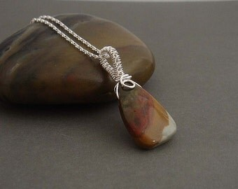 kalahari Sterling silver necklace with  wire wrapped gemstone pendant