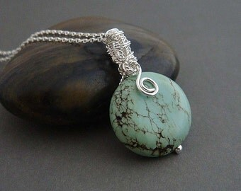 Sedona  Sterling silver necklace with a wire wrapped reversible silver and gemstone pendant in blue green, gift for her