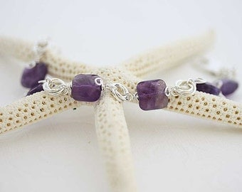 Wisteria sterling silver Bracelet with amethyst  gemstone bracelet, purple