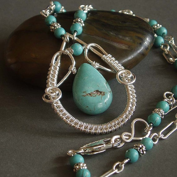 Montana silver pendant and necklace with turquoise howlite