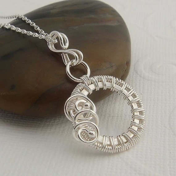 Andrea wire wrapped necklace in sterling silver
