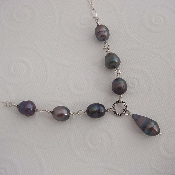 Pearl Necklace -Irisa.  Silver necklace in teal pearls, pearl necklace, sterling silver jewelry,  bridal jewelry.