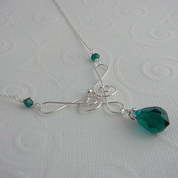Saraphina Green Silver necklace  , sterling silver, May birthstone, emerald green, handmade necklace
